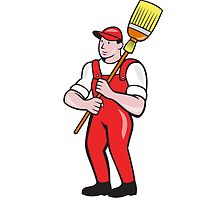 Janitor Cleaner Holding Broom Standing Cartoon by patrimonio