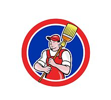 Janitor Cleaner Holding Broom Circle Cartoon by patrimonio