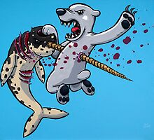 Narwhal vs. Polar Bear by joehavasy