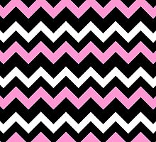 Pink Black White Chevron Pattern  by ArtVixen