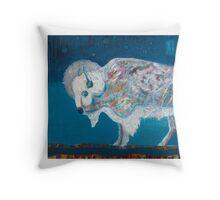 Midnight White Buffalo Throw Pillow