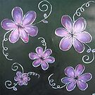 Floral Swirls Black and Purple by Michelle Potter