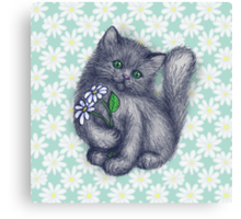 Cute Kitten with Daisies Canvas Print