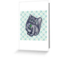 Cute Kitten with Daisies Greeting Card