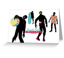 Funny zombies summer fun beach party Greeting Card