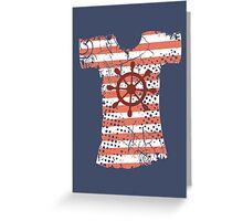 Hipster Americana nautical grunge t-shirt boat wheel Greeting Card