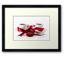 Wedding still life, two cups of coffee with ribbons Framed Print