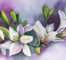 White Floral Greeting Card by artbymarsha