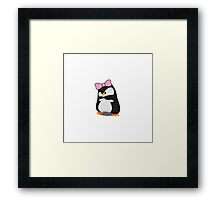 Angry Girly Cute Penguin with Pink Bow Framed Print
