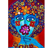 Flower Power Hand Drawn Face Photographic Print
