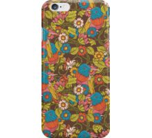 Vintage floral  pattern with humming bird iPhone Case/Skin