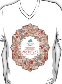 Seamless valentines decor pattern with flowers and hearts T-Shirt