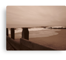 Wave breaking at Hornsea Canvas Print
