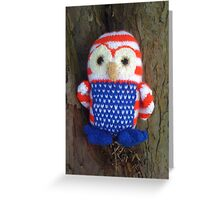 Stars and stripes owl in tree Greeting Card