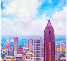 Atlanta Midtown Skyline - Vintage Style by Mark Tisdale