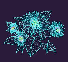 Teal Sunflowers by KaytiDesigns