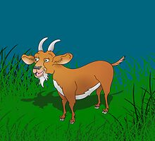 Happy Billy Goat in Field by piedaydesigns