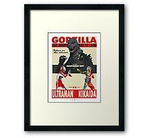 Godzilla/Ultraman/Kikaida - fight poster Framed Print