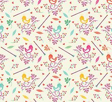 Seamless floral pattern with birds  by tomuato