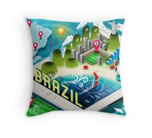 Isometric Infographic of Brazil on Tablet Throw Pillow