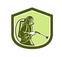 Pest Control Exterminator Spraying Shield Retro by patrimonio