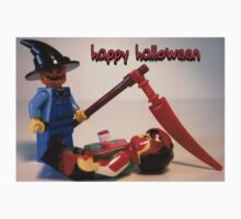 """Happy Halloween"" Custom LEGO® Halloween Scarecrow Minifigure & Scythe  Greeting Card, by 'Customize My Minifig' by Chillee"
