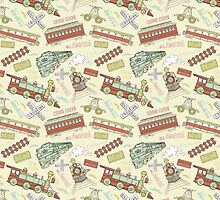 Retro Railroad Trains by SpiceTree