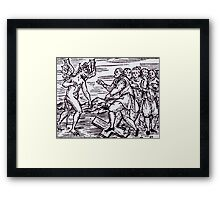 Male witch renouncing Christ Framed Print