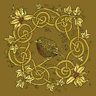 """""""Robin Wreath"""" Gold Holly & Ivy Celtic Seasonal Design by Catie Atkinson"""