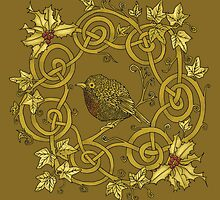 """Robin Wreath"" Gold Holly & Ivy Celtic Seasonal Design by Catie Atkinson"