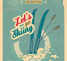 Let's go Skiing retro poster by PaulMalyugin