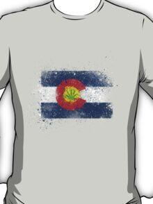 Colorado Flag Splatter w/ Cannabis Leaf T-Shirt