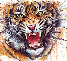 Ferocious Tiger Watercolor by OlechkaDesign