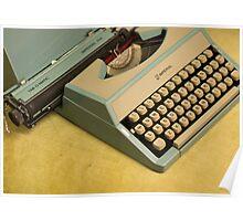 Vintage TAB-O-MATIC Antique Typewriter 1970's Poster