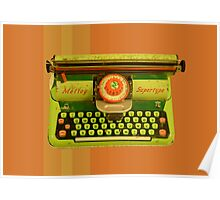 Vintage Tin Mettoy Supertype  Antique Typewriter 1960's Poster