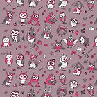 Little owlets pattern pink by Redilion
