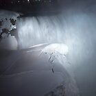 Horseshoe Falls And Ice In White by Gary Chapple