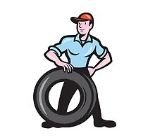 Tireman Mechanic With Tire Cartoon Isolated by patrimonio