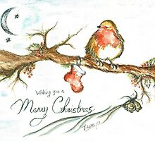 Merry Christmas Robin by Teresa White