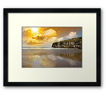 Ballybunion beach and cliffs wth Atlantic sunset Framed Print