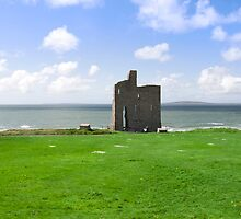 beautiful view of Ballybunion castle and green by morrbyte