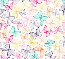 Seamless pattern with colorful butterflies by IreneArt