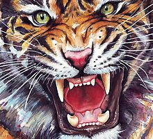 Roaring Tiger Watercolor Painting by OlechkaDesign