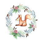 Floral Red Fox by Bianca Stanton