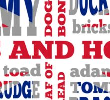 Union Jack, Cockney Rhyming Slang Sticker
