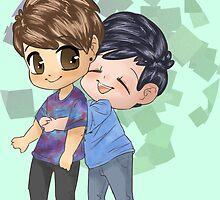 Dan and Phil Hugging by PhantomAlex