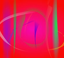 Vivid Red Abstract Bamboo Thicket by masabo