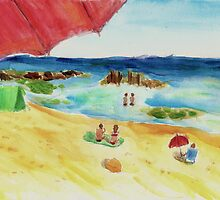 Monday at The Beach - Watercolor by ibadishi
