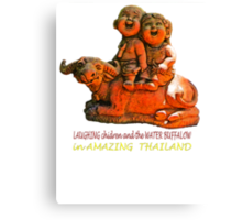 Laughing children and the water buffalo Canvas Print