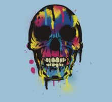Cool Skull with Colorful Paint Drips and Splatters  by Denis Marsili - DDTK